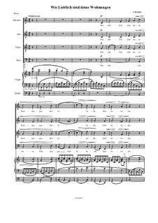 A German Requiem, Op.45: Movement IV, transposed down to C for choir and organ by Johannes Brahms