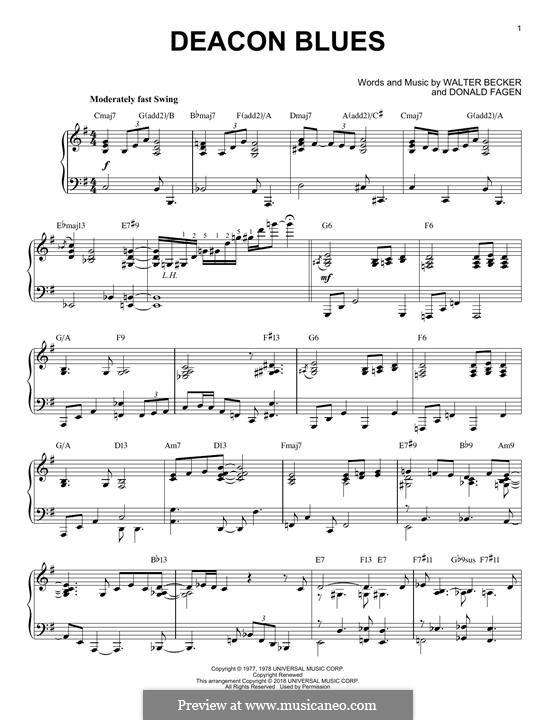 Deacon Blues (Steely Dan): For piano by Donald Fagen, Walter Becker