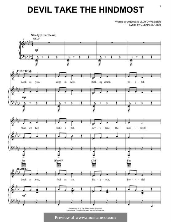 Devil Take the Hindmost: For voice and piano (or guitar) by Andrew Lloyd Webber