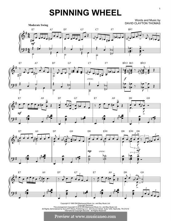Spinning Wheel (Blood, Sweat & Tears): For piano by David Clayton Thomas