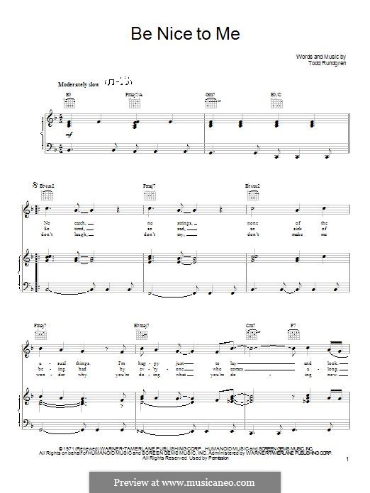 Be Nice To Me: For voice and piano (or guitar) by Todd Rundgren