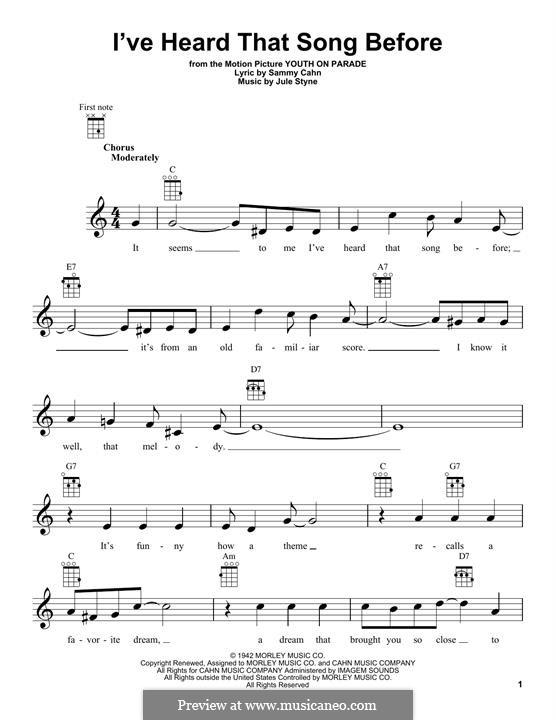 I've Heard That Song Before (Harry James): For ukulele by Jule Styne