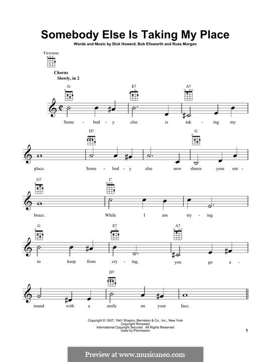 Somebody Else Is Taking My Place (Al Martino): For ukulele by Dick Howard, Russ Morgan, Bob Ellsworth