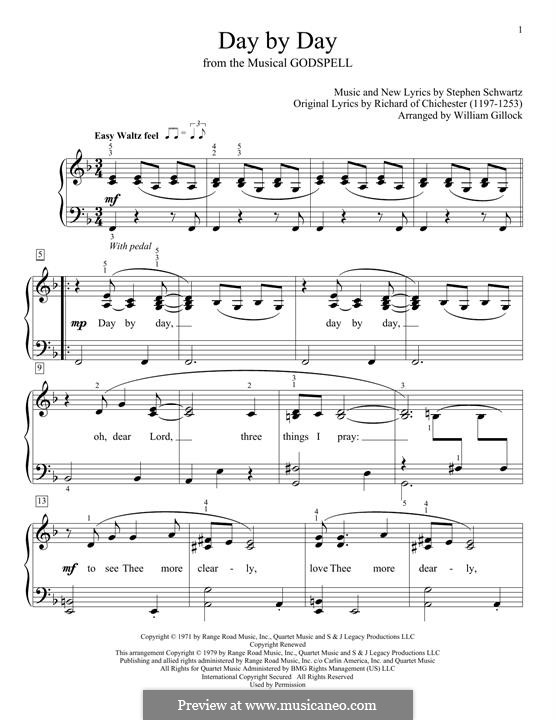 Day By Day: For easy piano by Stephen Schwartz