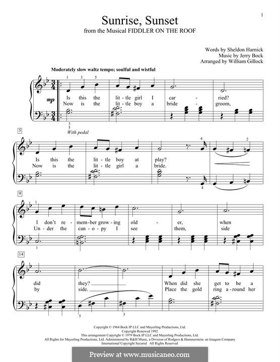 Sunrise, Sunset (from Fiddler on the Roof): For easy piano by Jerry Bock