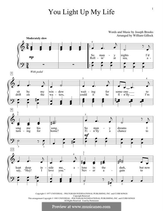 You Light Up My Life: For easy piano by Joseph Brooks