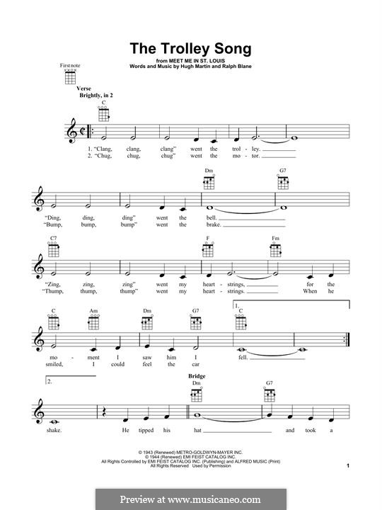 The Trolley Song (from Meet Me in St. Louis): For ukulele by Hugh Martin, Ralph Blane