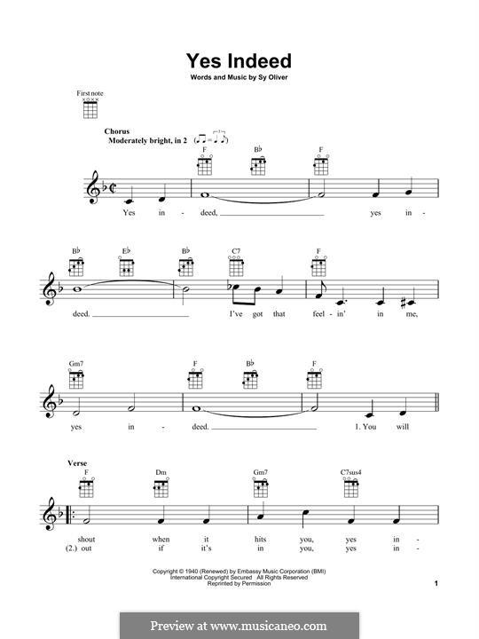 Yes Indeed (Frank Sinatra): For ukulele by Sy Oliver