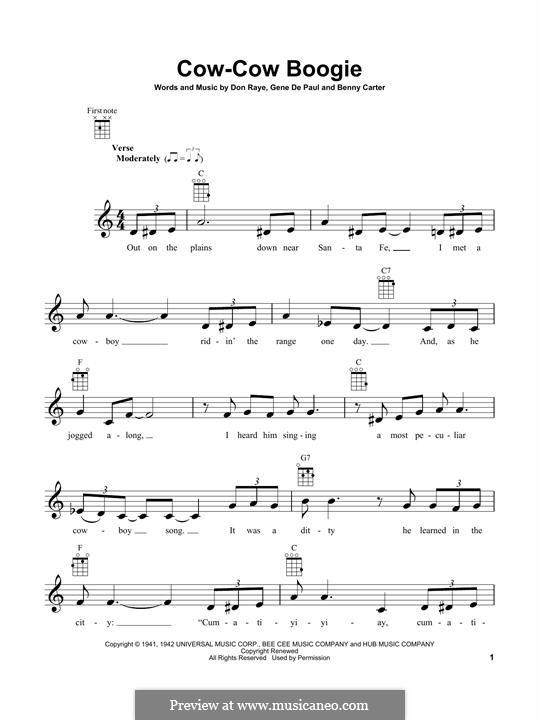 Cow-Cow Boogie: For ukulele by Don Raye, Benny Carter, Gene de Paul