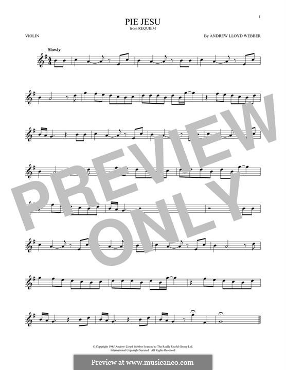 Pie Jesu (from Requiem): For violin by Andrew Lloyd Webber