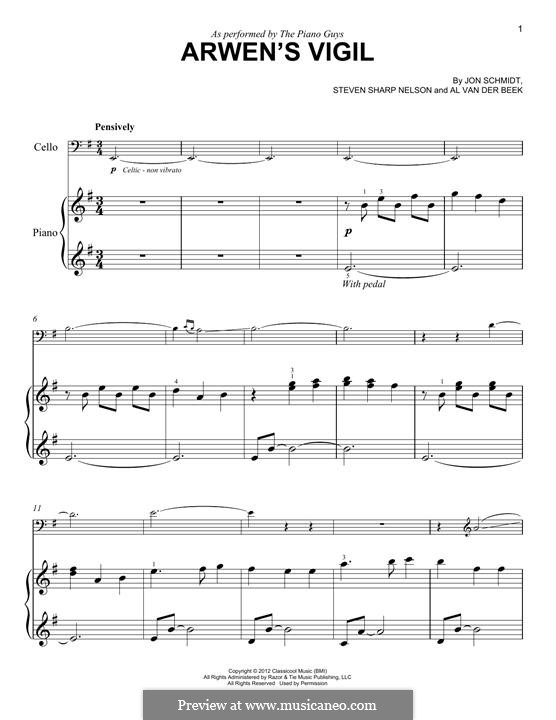 Arwen's Vigil (The Piano Guys): For cello and piano by Jon Schmidt, Al van der Beek, Steven Sharp Nelson