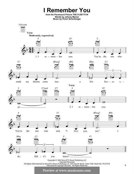 I Remember You (Diana Krall): For ukulele by Victor Schertzinger