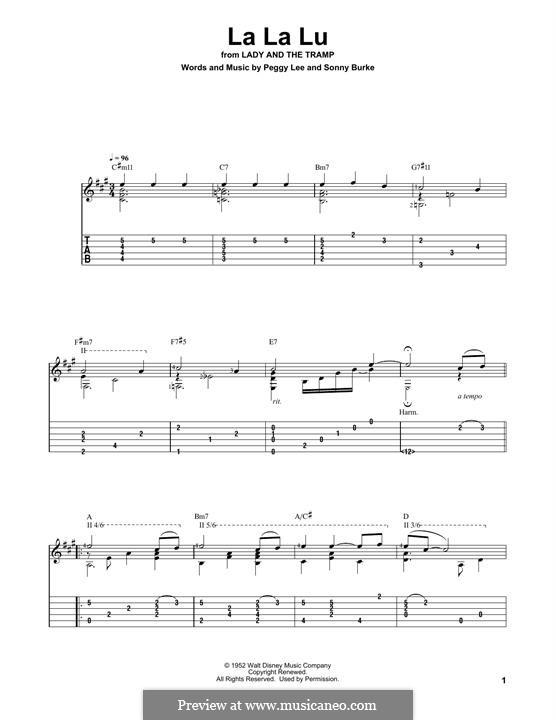 La La Lu: For guitar with tab by Peggy Lee, Sonny Burke