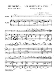 Fantasia on 'Les Millions d'Arlequin' by R. Drigo: Score for flute and piano by Ernesto Köhler