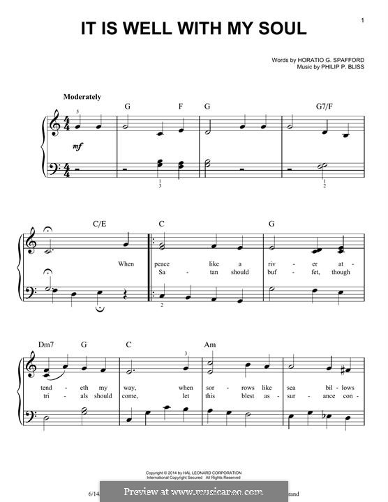 It Is Well with My Soul (Printable scores): For piano by Philip Paul Bliss