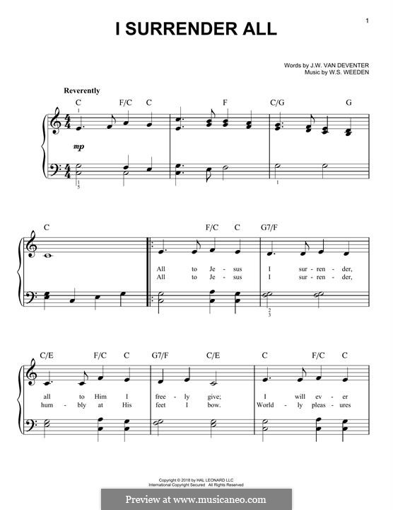 I Surrender All: For piano by Winfield Scott Weeden