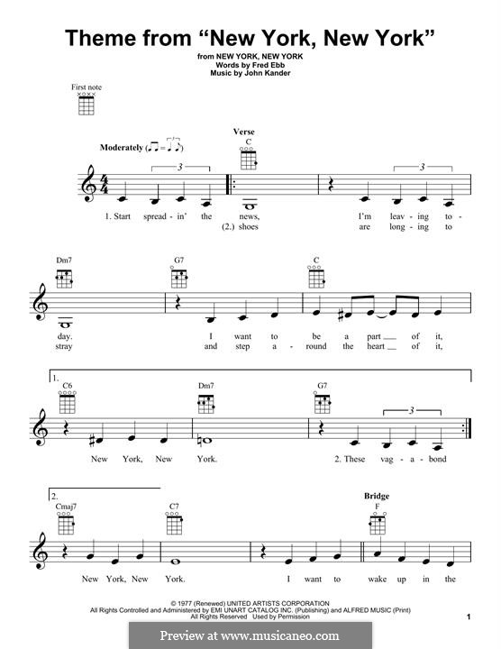 New York, New York (Frank Sinatra): For ukulele by John Kander