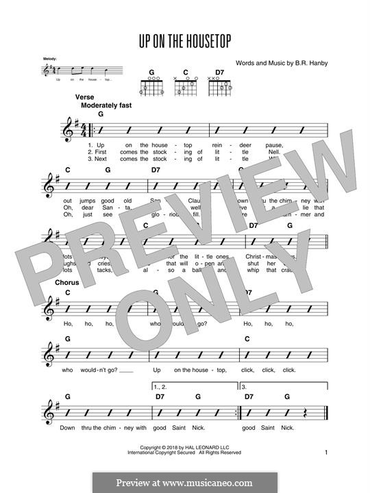 Up on the House Top: For guitar with tab by Benjamin Russel Hanby