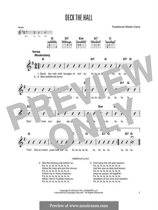 Deck the Hall (Printable): For guitar with tab by folklore