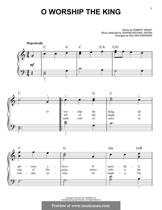 O Worship The King: For piano by Michael Haydn