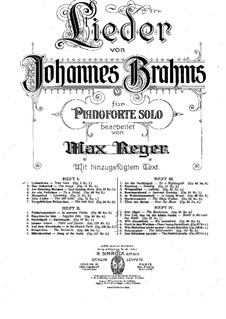 Selected Songs: Book II, for piano by Johannes Brahms