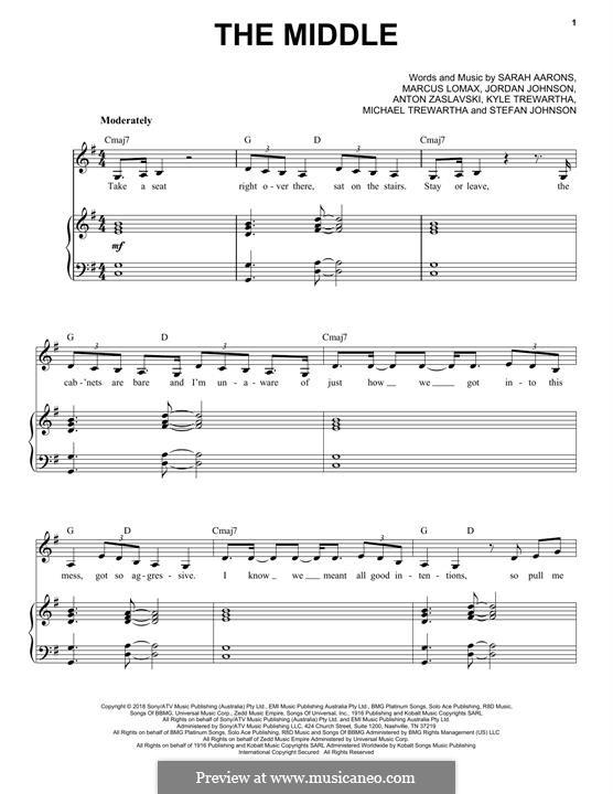 The Middle (Zedd, Maren Morris & Grey): For voice and piano (or guitar) by Anton Zaslavski, Marcus Lomax, Stefan Johnson, Jordan Johnson, Sarah Aarons, Kyle Trewartha, Michael Trewartha