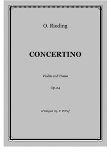 Concertino for Violin and String Orchestra, Op.24: Version for violin and piano by Oskar Rieding
