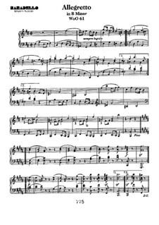 Allegretto in B Minor, WoO 61: For piano by Ludwig van Beethoven
