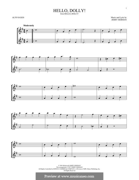 Hello Dolly (Louis Armstrong): For two alto saxophones by Jerry Herman