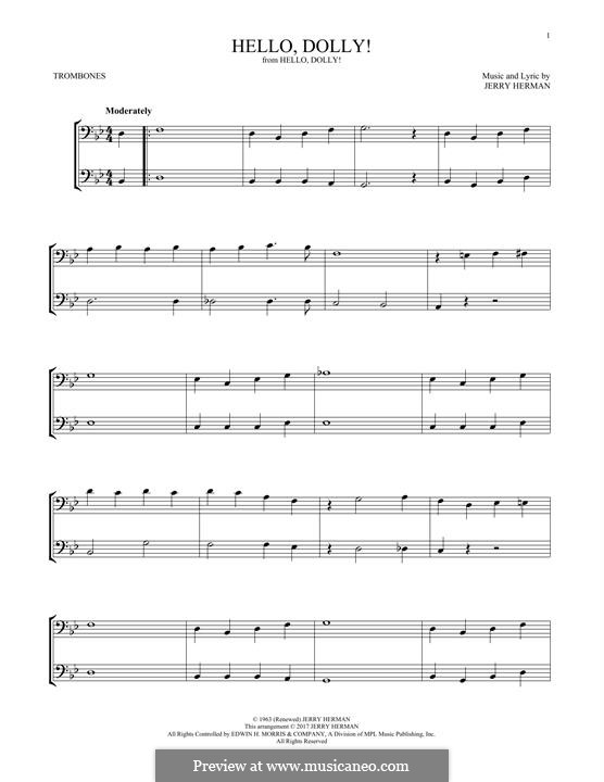 Hello Dolly (Louis Armstrong): For two trombones by Jerry Herman