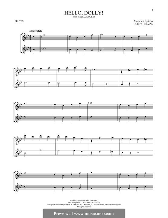Hello Dolly (Louis Armstrong): For two flutes by Jerry Herman