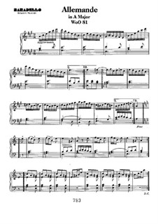 Allemande in A Major, WoO 81: For piano by Ludwig van Beethoven