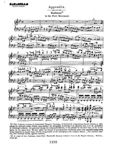 Concerto for Piano and Orchestra No.2, Op.19: Cadenza to movement I by Ludwig van Beethoven