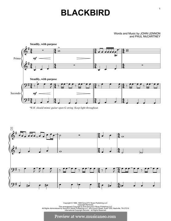 Blackbird (The Beatles): For piano four hands by John Lennon, Paul McCartney