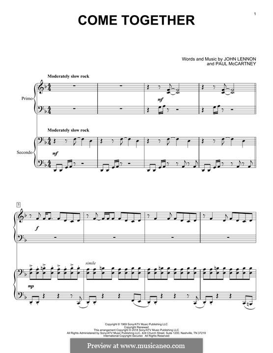 Come Together (The Beatles): For piano four hands by John Lennon, Paul McCartney