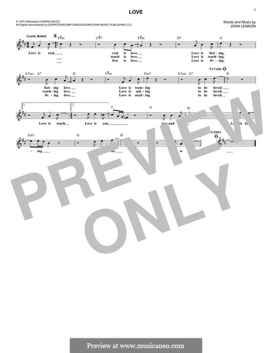 Love: Melody line by John Lennon
