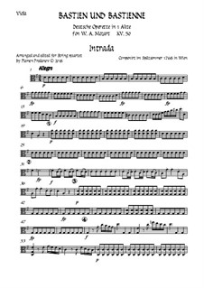 Bastien and Bastienne, K.50: Arranged for string quartet accompaniment – viola part by Wolfgang Amadeus Mozart