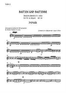 Bastien and Bastienne, K.50: Arranged for string quartet accompaniment – violin 2 part by Wolfgang Amadeus Mozart