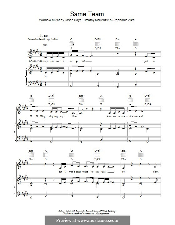 Same Team (feat. Stefflon Don): For voice and piano or guitar (Labrinth) by Jason Boyd, Timothy McKenzie, Stephanie Allen, Stefflon Don