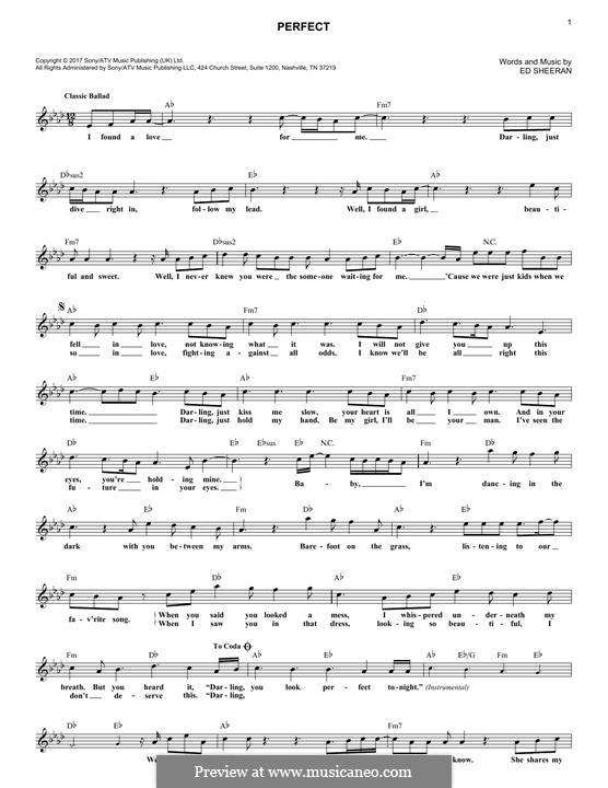 Perfect: Melody line by Ed Sheeran