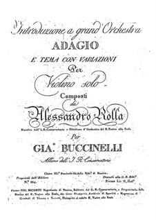 Adagio and Theme with Variations for Violin and Orchestra , BI 493: Adagio and Theme with Variations for Violin and Orchestra by Alessandro Rolla