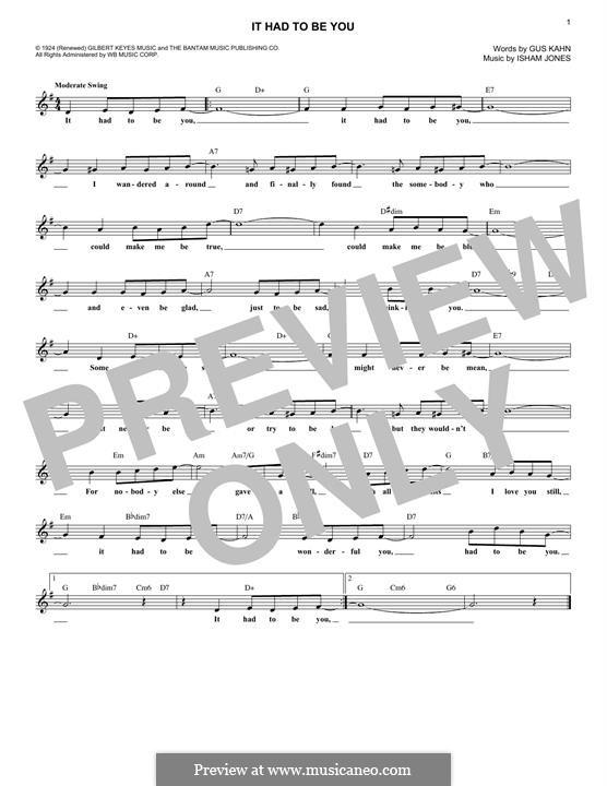 It Had To Be You (Rod Stewart): Melody line by Isham Jones