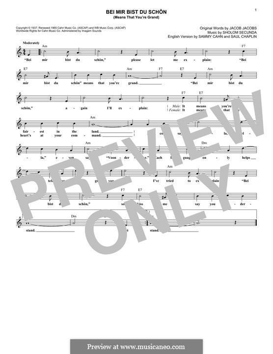 Bei mir bist du schön (Means That You're Grand): Melody line by Sholom Secunda