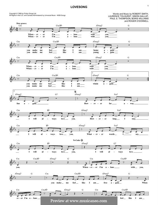 Lovesong (Adele): Melody line by Boris Williams, Laurence Tolhurst, Porl Thompson, Robert Gary Smith, Roger O'Donnell, Simon Gallup