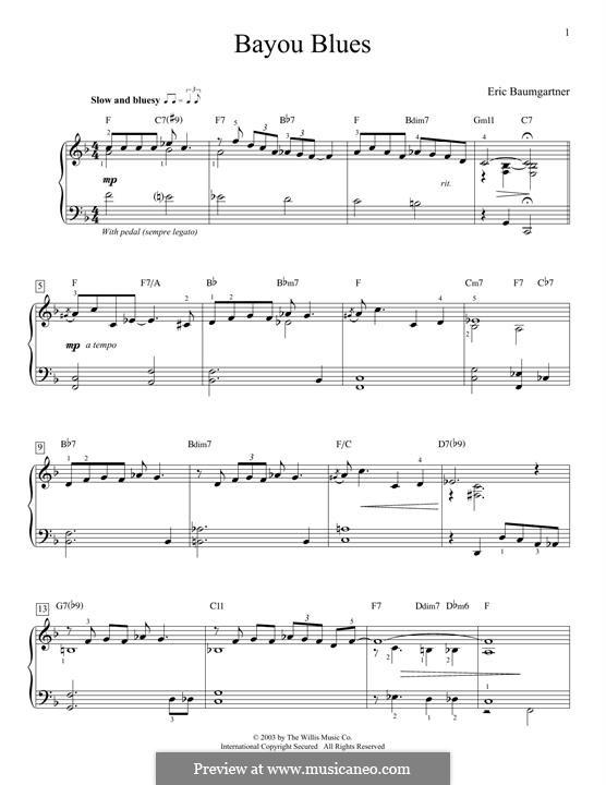 Bayou Blues: For piano by Eric Baumgartner