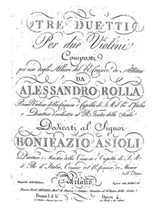 Three Duos for Two Violins, BI 161,122,185 Op.4: Three Duos for Two Violins by Alessandro Rolla