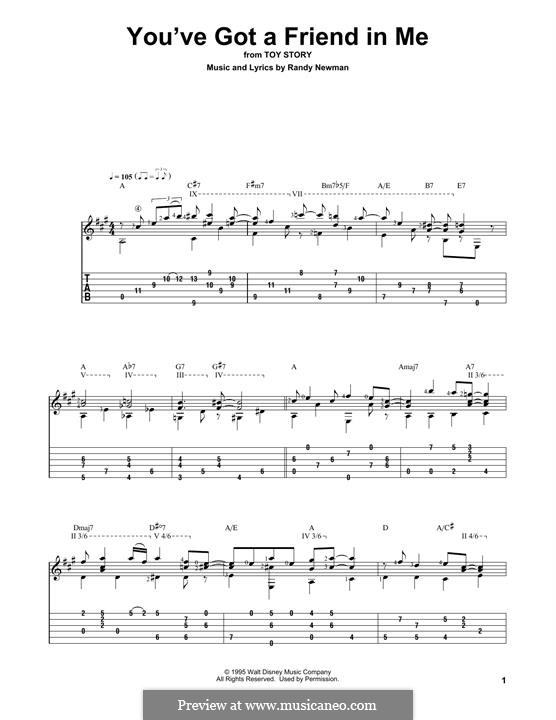 You've Got a Friend in Me (from Disney's Toy Story): For guitar with tab by Randy Newman