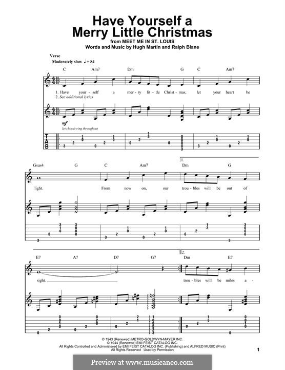 Have Yourself a Merry Little Christmas: For guitar with tab by Hugh Martin, Ralph Blane