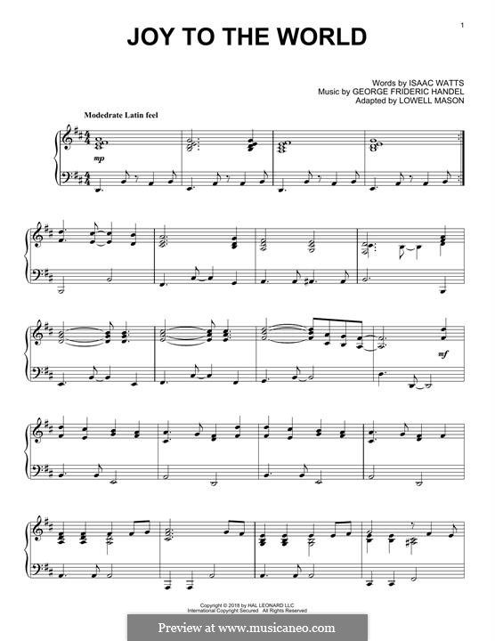 Joy to the World, for Piano: For a single performer by Georg Friedrich Händel