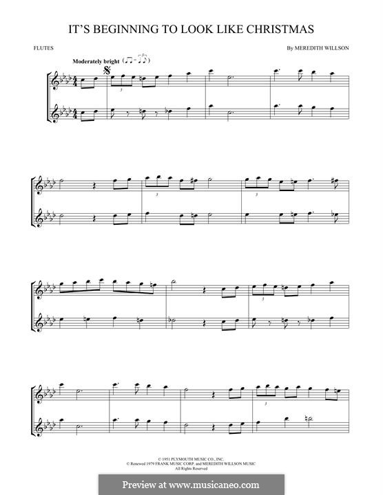 It's Beginning to Look a Lot Like Christmas (Perry Como): For two flutes by Meredith Willson